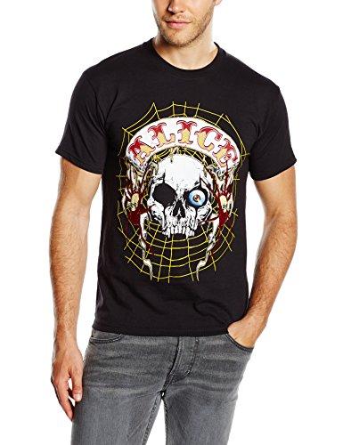 Unbekannt Herren T-Shirt Band Back Patch Schwarz - Schwarz