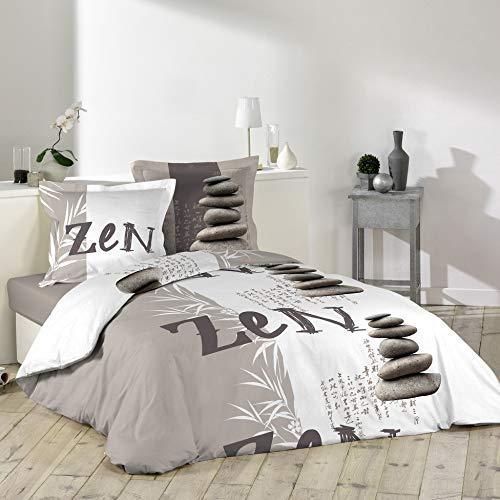 Douceur d'Intérieur Galets Zen - Juego de Cama con 2 Fundas de Almohada de algodón, 240 x 220 cm
