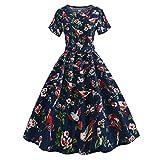 Qmber 1950s Vintage Retro Cocktail Dress Rockabilly V-Neck Pleated Skirt Elegant 50s Petticoat Misses Gepunkte Rockabilly Dresses Cocktail Dresses