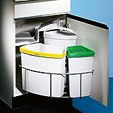 Wesco Trio Master 3 DS - Dispositivo para cubo de basura (instalación en interior de mueble, extensible, 40 cm, incluye 3 cubos, 2 x 8 l, 1 x 16 l)