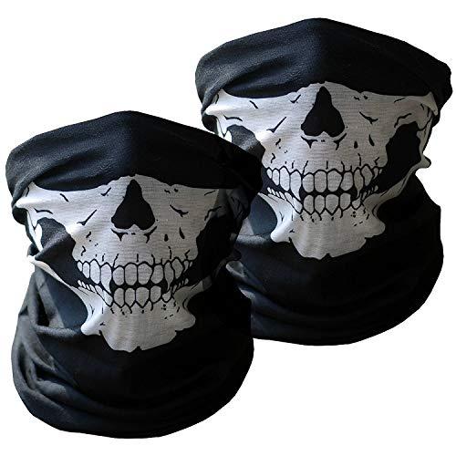 Xpassion 3 Stück Premium Sturmmaske Totenkopf Schwarz Skull Maske Multifonction Sturmmaske Ghost für Motorrad Fahrrad Ski Paintball Gamer Karneval - Selbst Gemachte Karnevalskostüm
