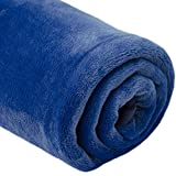 DuneDesign extra warme Kuscheldecke 140x200cm Wohndecke 300g/m² Fleecedecke Tagesdecke Mikrofaser-Decke Blau