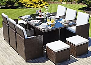 CUBE RATTAN GARDEN FURNITURE SET CHAIRS SOFA TABLE OUTDOOR PATIO WICKER 8 Am