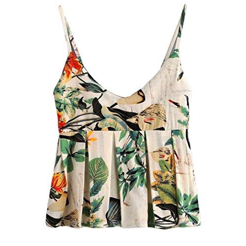 Militär-gelb T-shirt (TWIFER Damen Mode Crop Tank Tops Ärmelloses T-Shirt Gestreiftes Camisole (L, D-Gelb))