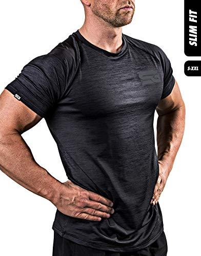 Satire Gym Fitness T-Shirt Herren - Funktionelle Sport Bekleidung - Geeignet Für Workout, Training - Slim Fit (S, schwarz meliert)