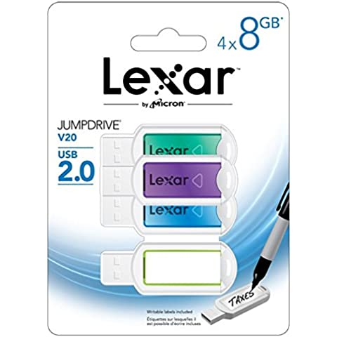 Lexar JumpDrive V20 Flash Drive 4 Pack, 8GB, USB 2.0,