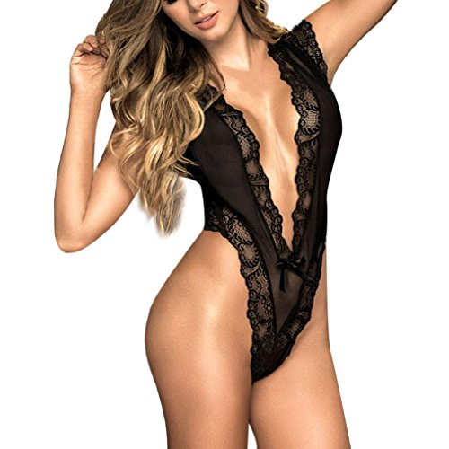 Longra❤2018 Moda Mujer Sexy Encaje con cuello en v Tentación Racy Ropa de dormir Negro Sissy Lencería tanga sexy