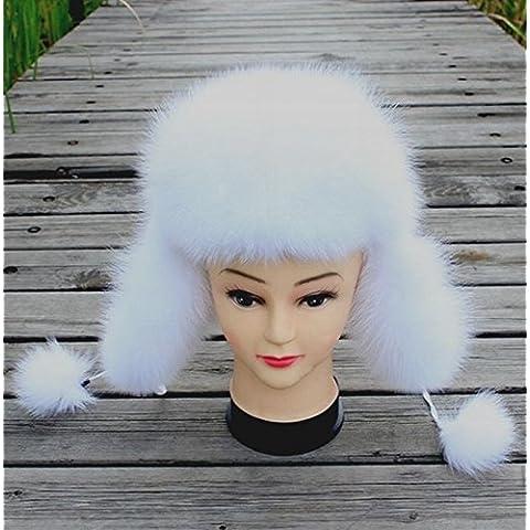 ZYONG*La mujer de pieles de visón Real Fox Fur Hat estilo ruso Auricular Blanco cálido invierno