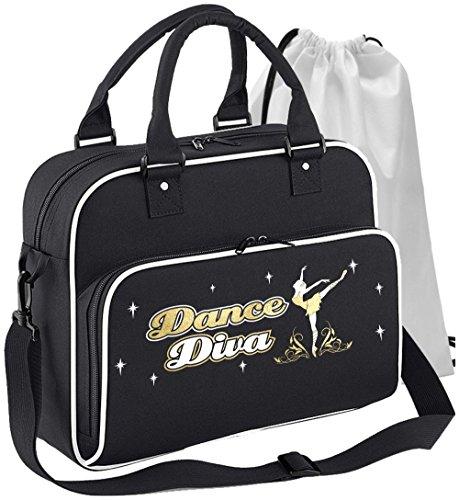 MusicaliTee Ballet Dancer - Dance Diva - SCHWARZ + Weißes White - Tanztasche & Schuh Tasche Dance Shoe Bags