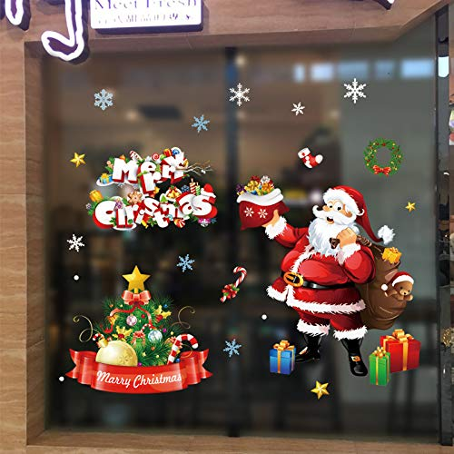 2-Pack Christmas Santa and Snowman Stickers, Window Clings Wall Decals Christmas Thanksgiving Party Decorations Supplies (Multiple styles) -