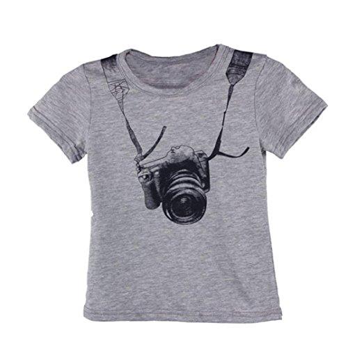 T shirt kinder Kolylong Kinder Jungen KameraDruck Muster Tops T-Shirt 90-130 (130, Grau)