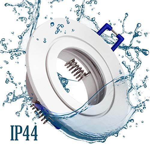 6x Einbaustrahler Bad IP44 mit GU10 Fassung RUND weiß+ 5W Leuchtmittel warmweiß Einbauspot Einbauleuchte Rahmen Rostfrei Deckenspot Strahler Spot