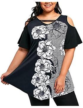 Camisetas De Hombro Frío con Estampado Mujer LHWY, Camisetas Tallas Grandes Irregular Suelto Tops Casuales Blusa