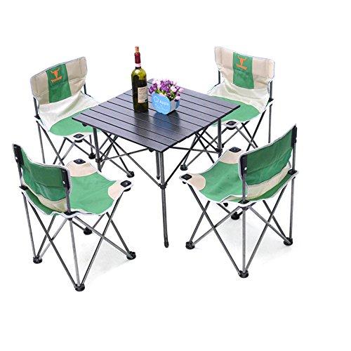 HUKOER Cinq Ensembles d'pliant Outdoor Leisure Tables et chaises en Plein air Tables et chaises Pliant Le Tables et chaises épais écran Table décontracté Table
