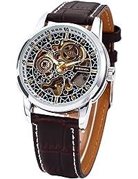 Shenhua Reloj de Pulsera Acero Inoxidable Dorado y Negro Dial Semiautomático Marrón Mecánico Correa de Cuero - desde Reino Unido + Caja de regalo incluido!