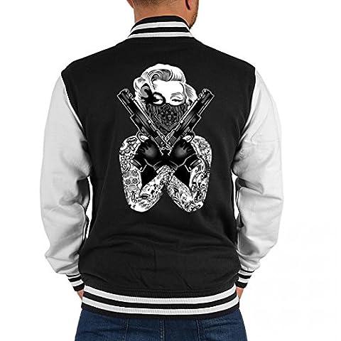 USA Biker College-Jacke für Marilyn Monroe Fans - Mit Tattoos und zwei Waffen - Geschenk-Idee, Größe:XXL