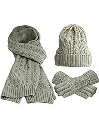 FEOYA Lot de 3 PCS Ensemble Bonnet + Echarpe + Gants Tricot Femme Chapeau  en Laine e89ef736035