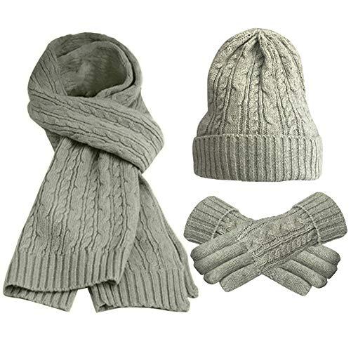 FEOYA Damen 3 teiliges Winter Set mit Strickmütze Schal Handschuhe Verdickt Gestrickt Beanie Kappe Hut (Handschuhe Hut Damen-schal, Und)