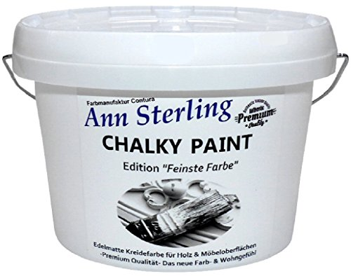 1,5 Kg Ann Sterling Kreidefarbe Shabby Chic Farbe: Chalky White/Weiß Lack Chalky Paint 1.5 Kilo / 1 Liter