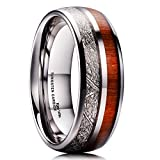 King Will 8mm Mens Wedding Band Tungsten Carbide Ring Imitated Meteorite Koa Wood Inlay Comfort Fit