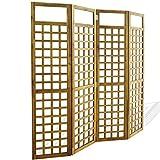 Festnight- Biombo Separador de Ambientes Divisor Plegable de 4 Paneles, Diseño Enrejado Madera Maciza de Acacia 160x170cm