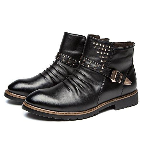 Wzg Nova Inglaterra Martin Botas Homens Sapatos Altos Calçados Masculinos Ferramenta Preto Clássico