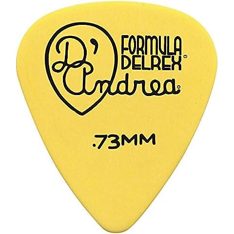 D'Andrea TNDX73 Delrex púas de guitarra, 12 piezas, colección de Tin, Yellow, 0,73 mm, tamaño mediano