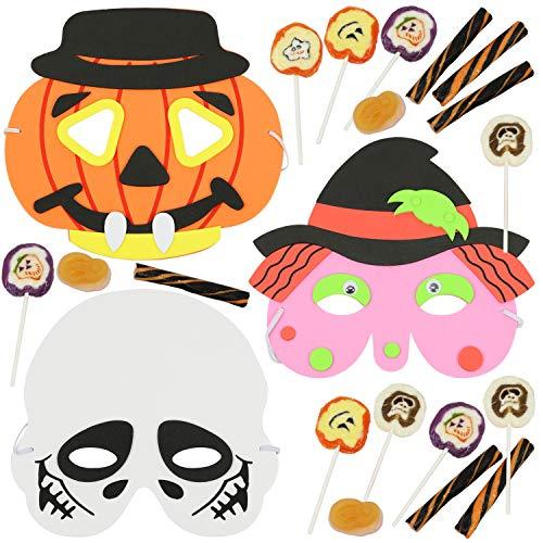 com-four® 21-teiliges Halloween-Masken Set Süßigkeiten im Kürbis-, Skelett- und Hexendesign (21-teilig - Masken/Süßes)