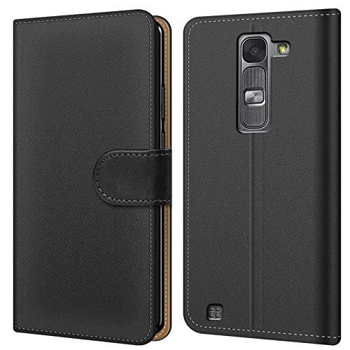 Conie BW18267 Basic Wallet Kompatibel mit LG Magna, Booklet PU Leder Hülle Tasche mit Kartenfächer und Aufstellfunktion für Magna Case Schwarz