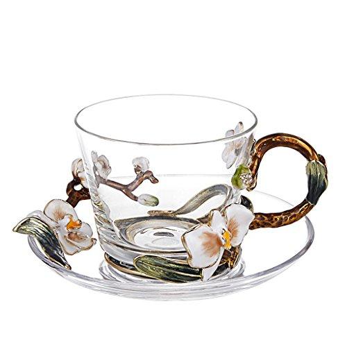 Haodan electronics Europäischen Stil Emaille Glas Kaffeetasse Set, Kristallglas Transparent Tasse...