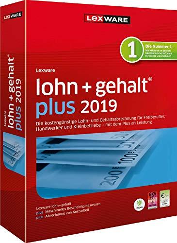 Lexware lohn+gehalt 2019 plus-Version Minibox (Jahreslizenz) Einfache Lohn- und Gehaltsabrechnungs-Software für Freiberufler, Handwerker und Kleinbetriebe Kompatibel mit Windows 7 oder aktueller