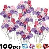 Set di fiori artificiali Grandi e Piccoli- 100 pezzi, rose finte in massa, alta qualità, Ideale per il fai da te Bouquet di nozze, Decorazioni Torta, Adesivi da parete, Indoor & Outdoor Decor