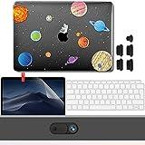 GMYLE Coque pour Nouveau MacBook Air 13 Pouces pour A1932 2018 Touch ID Retina Cache Webcam Couverture, Protection d'écran, Bouchons de Port Anti-poussière, Couvercle de Clavier - Planète de l'espace