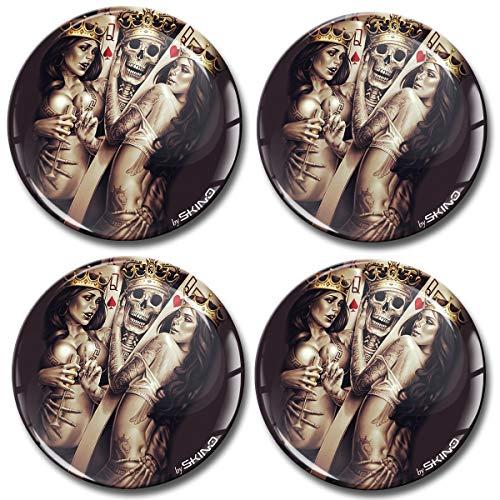 Biomar Labs 4 x 70mm 3D Adesivi in Silicone per Coprimozzo Cerchione Copricerchi Tappi Ruote Auto Tuning Teschio Cranio Carte Poker Skull Sexy Girls A 4670