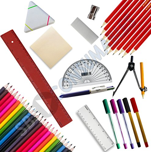 48 Piece Back to School/College Stationery Set. Pens Pencils Compass Rulers Rubber, Colouring Pencils, Sticky Notes, Protractor, Highlighter, Pencil Sharpener