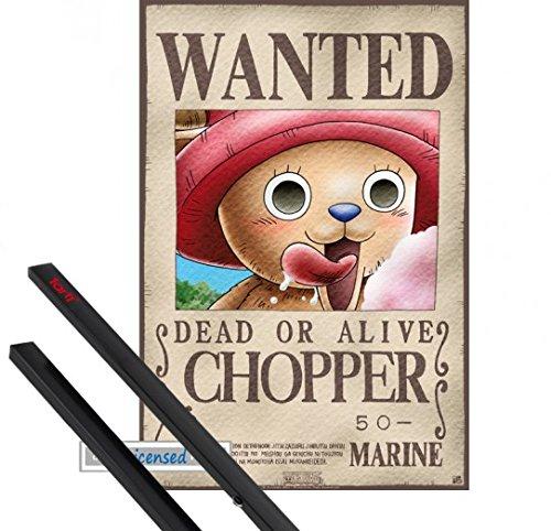 Poster + Hanger: One Piece Mini-Poster (52x35 cm) Wanted Chopper Inklusive Ein Paar 1art1 Posterleisten, Schwarz