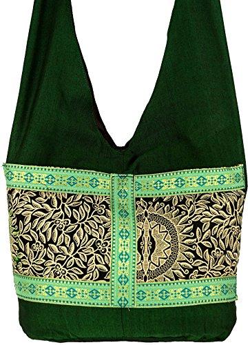 Guru-Shop Sadhu Bag, Schulterbeutel, Hippie Tasche - Türkis, Herren/Damen, Synthetisch, 30x35x10 cm, Bunter Stoffbeutel Grün