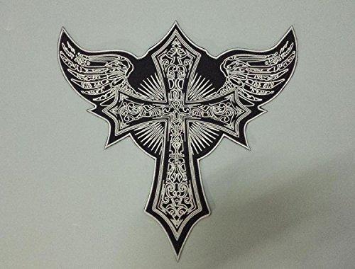 Astonish Enormi Ali Flying Cross Angelo Grande Stickerei für Motorradfahrer, 33 cm x 32,5 cm