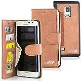 Golden Phoenix ROYAL Lederhülle für Samsung-Galaxy-Note-Edge mit abnehmbarem Backcover, Geldfach und Kartenschlitze inkl. Display Schutzfolie - Hülle Tasche in Kirsche
