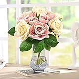 CRMICL Unechte Blumen, Künstliche Blumen, Seide Kunststoff Künstliche Rosen, Braut Hochzeitsblumenstrauß für Haus Garten Party Blumenschmuck (Rosa Champagner)