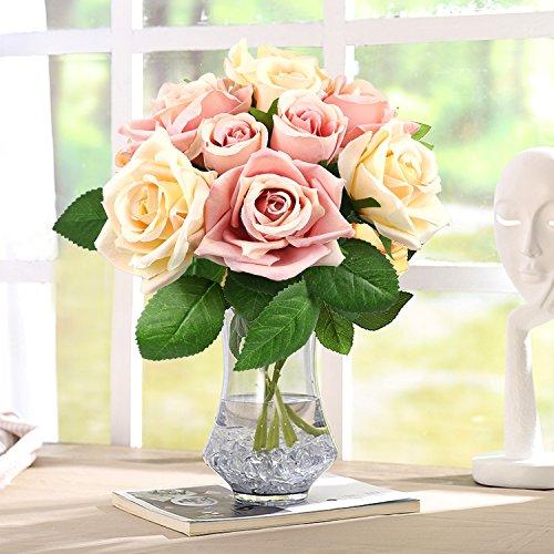 CRMICL Unechte Blumen, Künstliche Blumen, Seide Kunststoff Künstliche Rosen, Braut Hochzeitsblumenstrauß für Haus Garten Party Blumenschmuck (Rosa - Beschneiden Rosen