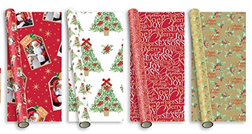 20m Weihnachten Geschenkpapier 4x5m Papierrolle - traditionelle eleganten Designs