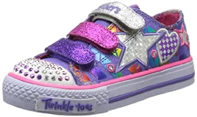 Skechers Girls / Kids Shuffles - Classy Sassy; Twinkle Toes, Velcro Fastening Casual Fashion Light Up Trainers / Sneakers with Bold Colourful Stripe Detail