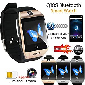 Bluetooth Smartwatch | Camera | Calling Facility | Anti Lost Function | Video Recording | Phone Book | Compatible with all 3G , 4G Android And IOS Users | Golden Q18 Smart Watch By mobicell