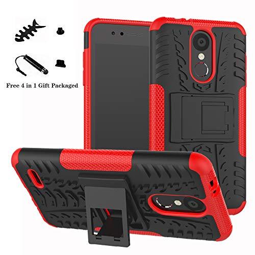 liushan lg k8 / k9 2018 custodia, protettiva shockproof rigida dual layer resistente agli urti con cavalletto caso per lg k8 / lg k9 2018 smartphone (con 4in1 regalo impacchettato),rosso