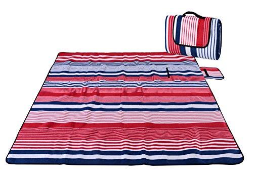 Honeystore Flanell Wasserdichte Yoga Matte Strand Ausflug Picknickdecke Mit Tragegriff 200*200 CM Fein Rot Blau Streifen