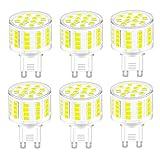 BTF G9 Bombilla LED,No Regulable Blanco Frio 6000k G9 5W Equivalente 40W Halógena 500lm Lámpara LED Sin Parpadeo 360°ángulo de Haz AC 220-240V Pack de 6