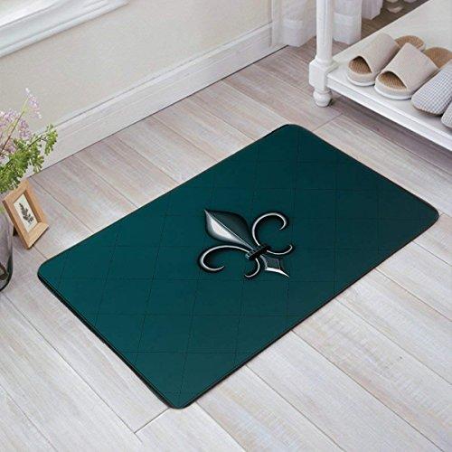 Jkimiiscute Fleur de Lis Fußmatte Eingang Teppich Fußmatte Stoff Innen- und Fußmatte Grip Gummirückseite, 59,9x 39,9cm L x W
