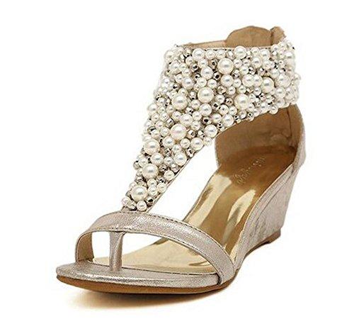 Dayiss Fashion Damen Römersandalen Strass Perlen Strass Wedges Keilabsatz Sandalen Teep-Toe Gold