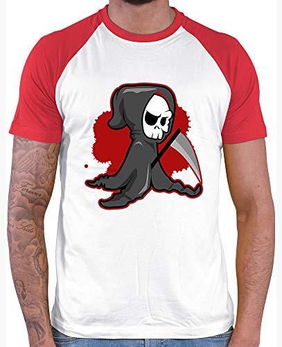 HARIZ  Herren Baseball Shirt Sensenmann Halloween Kostüm Verkleidung Kürbis Plus Geschenkkarte White/Red XL (Sensenmann Für Erwachsene Kostüm Plus)